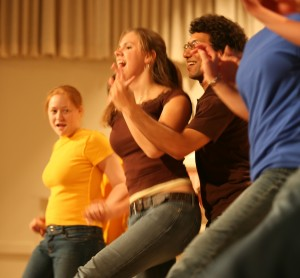Gustavus students perform at a previous Dancing With the Profs event.