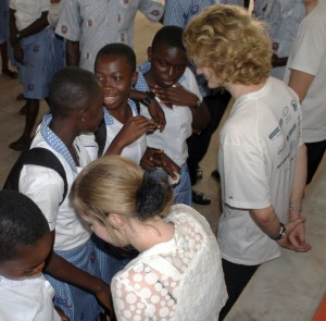 Yost and Matheson answer questions about hygiene from Ghanaian students.