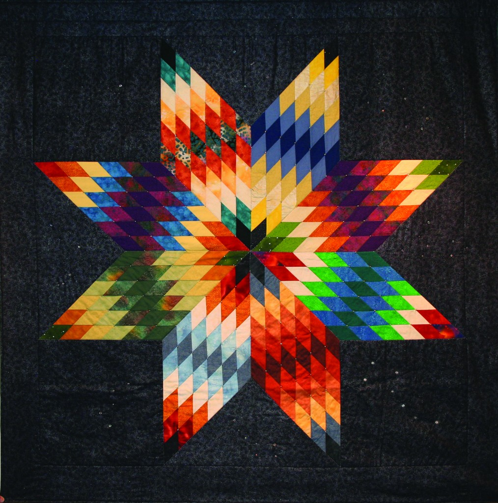 Gwen Westerman, Mitakuye Owas (All My Relations), 2012, quilt, 100% commercial cotton embellished with glass beads and Swarovksi crystals, 65 ½ x 65 ½ inches.
