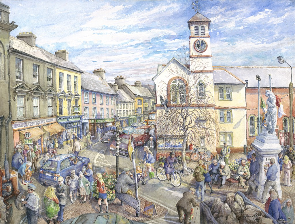 Ann Martin, Town Square, 2005, watercolor on rag, 22 7/16 x 30 15/16 inches