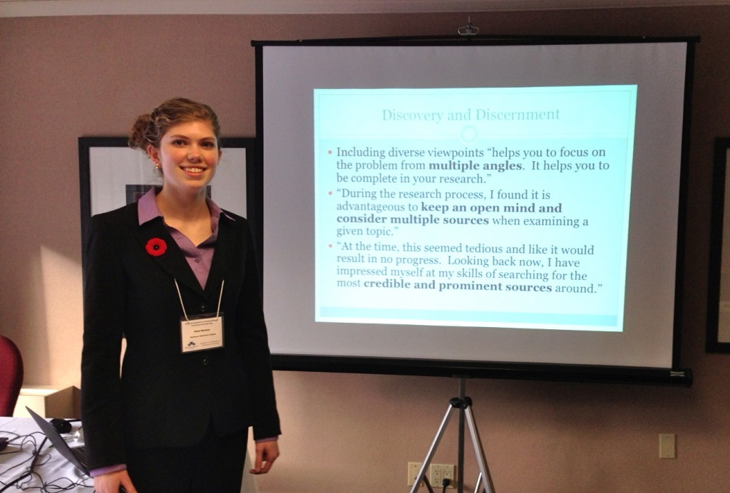 Anna Morton at the Symposium on Teaching and Learning in Banff, Canada, where she and Dr. Leila Brammer presented their research in November 2012.
