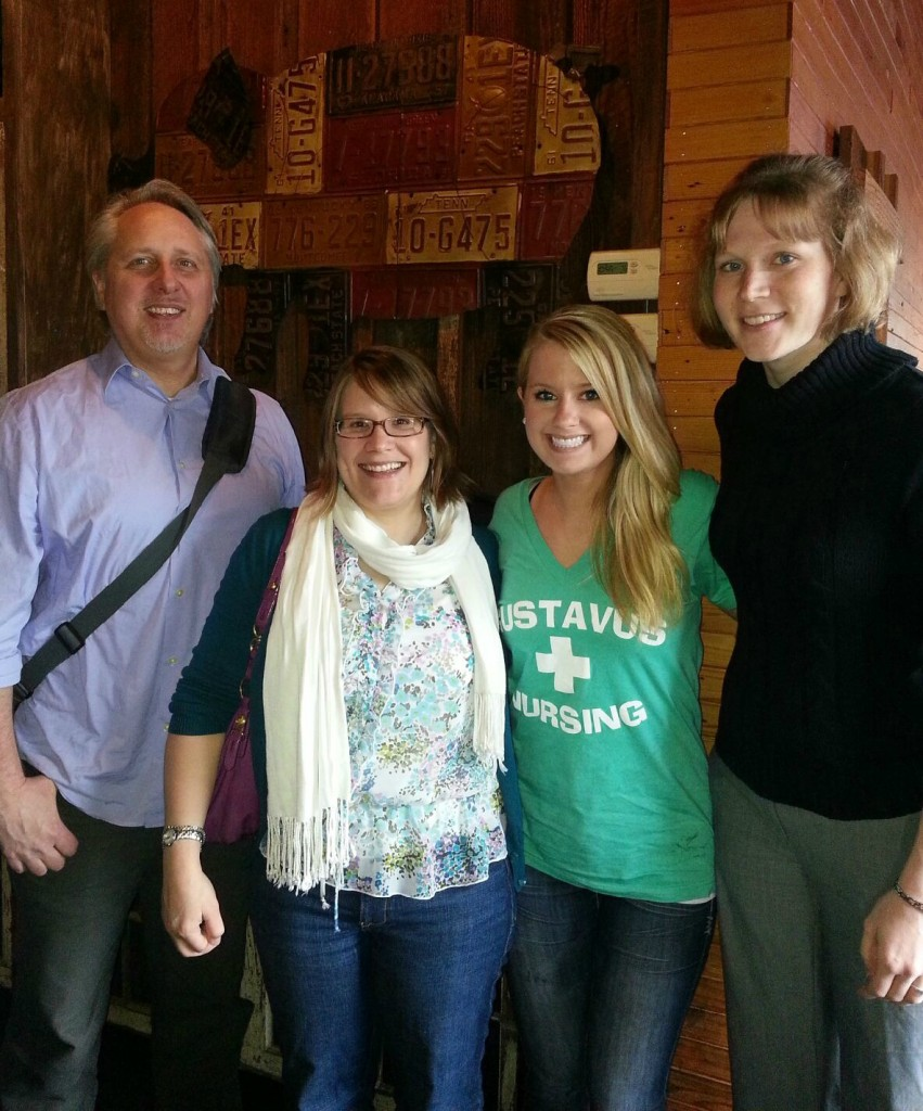 From left to right: Gordon Mansergh '84, Kristin Unzicker '00, Alyssa Gaulrapp '13, Lynnea Myers '06