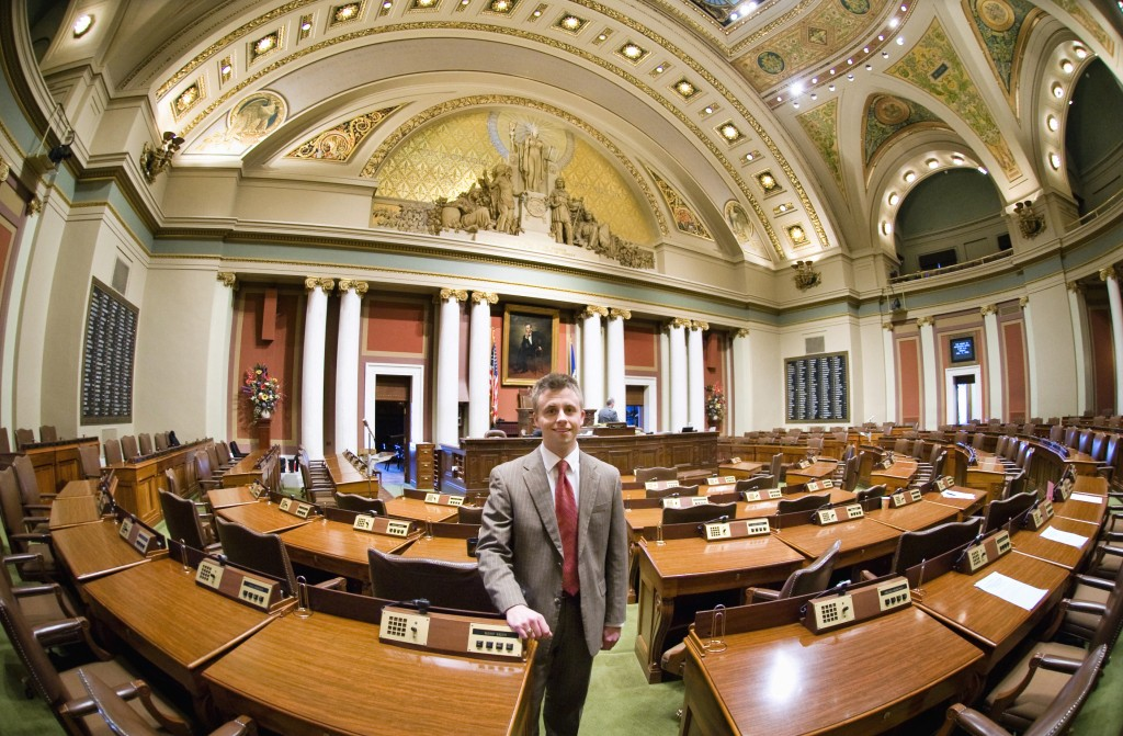 Swenson on the floor of the Minnesota House chamber.
