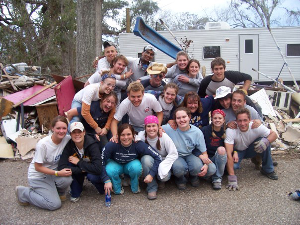 Swenson and other Gustavus students volunteered in Mississippi after Hurricane Katrina.