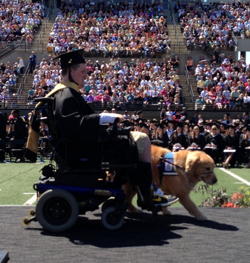 Brendan and Rio go across the stage at commencement (Photo by Matt Thomas '00)