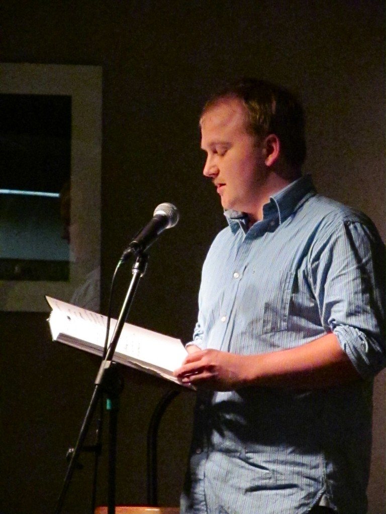 Senior Leif Estenson reads from the Fall 2012 edition of Firethorne.