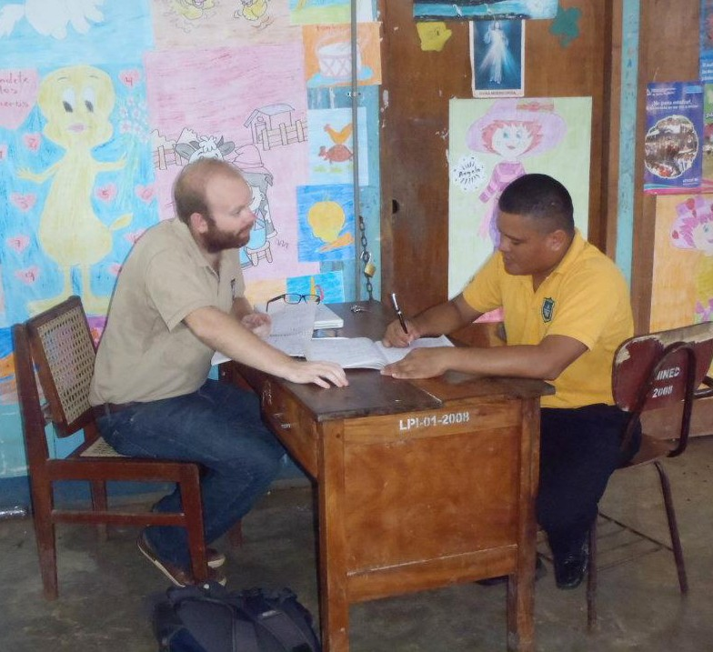 Matt Wood '10 works with business owners in Nicaragua.