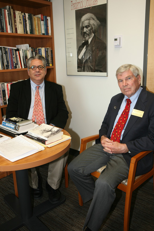 Professor Greg Kaster (left) with Gustavus alumnus and Pulitzer Prize-winning author and historian James McPherson '58