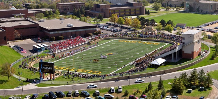 Pictured above is the first Homecoming Game played on the new Lloyd Hollingsworth Field at the Gustavus Football Stadium in 2007.