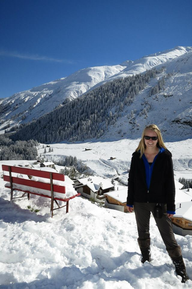 Wika in the Swiss Alps as part of her environmental studies coursework during her semester abroad in Germany.