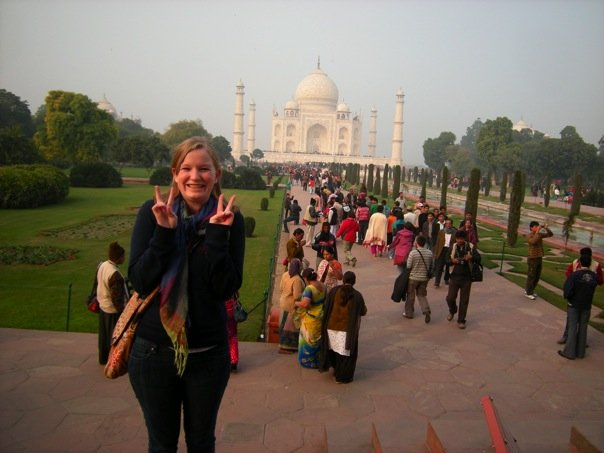 Saunders at the Taj Mahal during a Gustavus study abroad experience in India.
