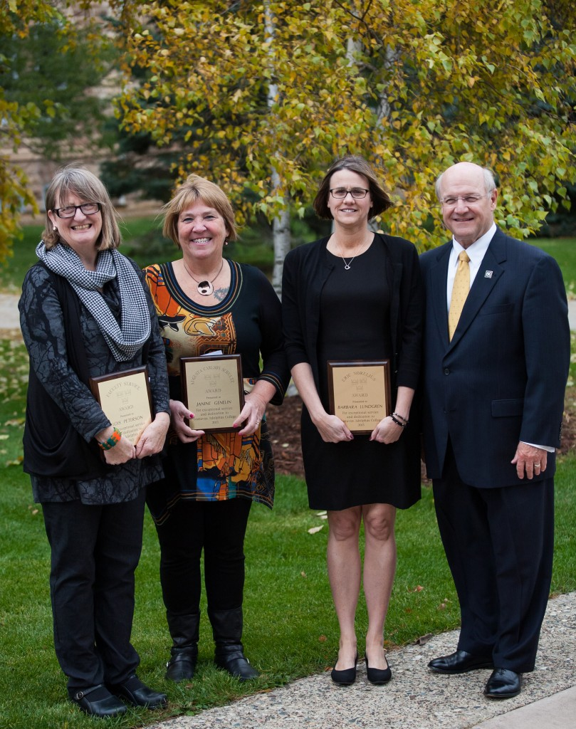 From left to right: Lois Peterson, Janine Genelin, Barb Lundgren, and President Jack Ohle (Photo by Nate Long '16)
