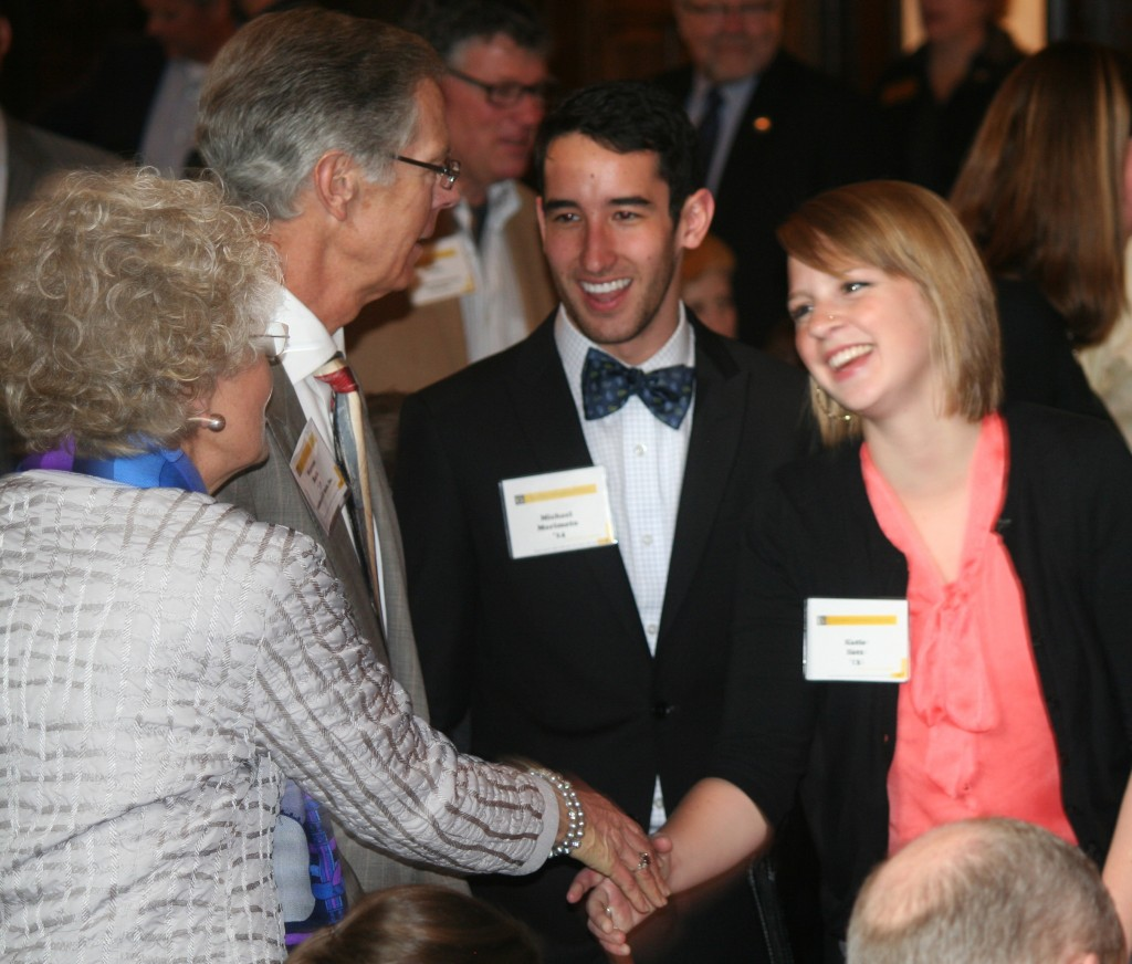 Students Michael Morimoto '14 and Katie Batz '13 met Warren '67 and Donna '66 Beck at last spring's networking event.