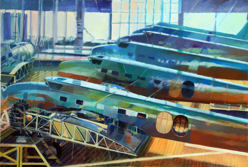 Bruce McClain, Boeing Hanger, 1990, oil on canvas, 44 x 66 inches.