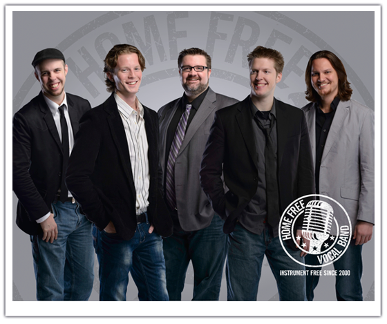 Home Free vocal group members Chris Rupp '02, Austin Brown, Rob Lundquist, Adam Rupp '04, and Tim Foust.