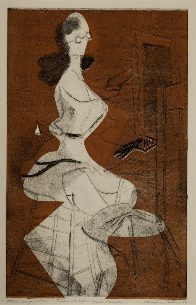 Minna Citron (1896–1991), Men Seldom Make Passes…, 1946, etching and aquatint on paper, 14 1⁄2 x 9 1⁄4 inches, collection of Christiane H. Citron