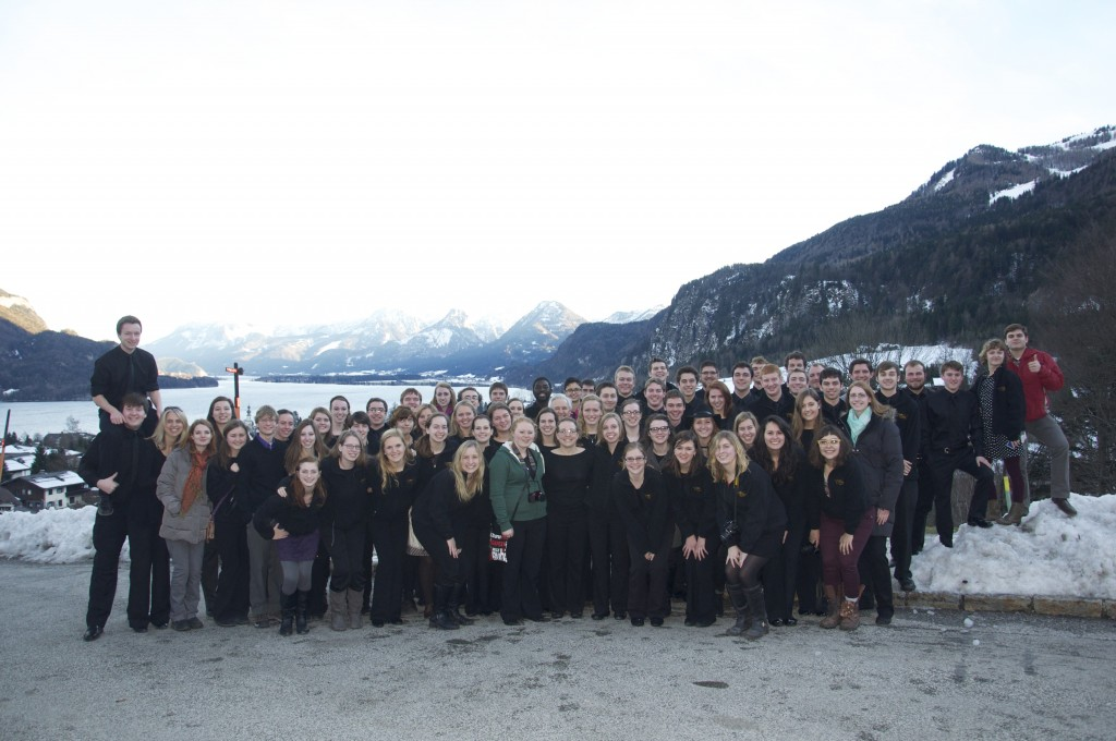 Members of the Gustavus Wind Orchestra at Wolfgangsee, a lake in a resort region of Austria.