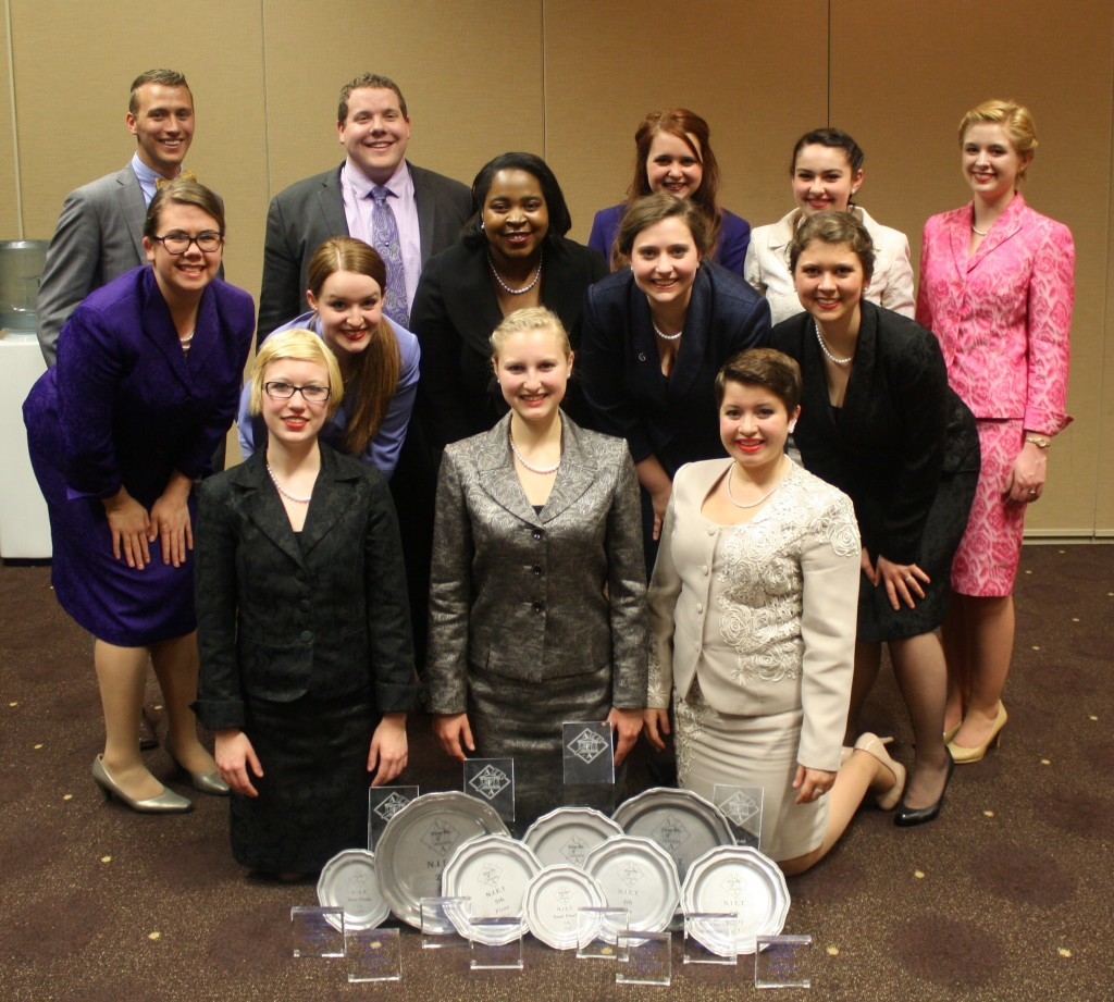 The Gustavus forensics team and their awards at this year's AFA-NIET.