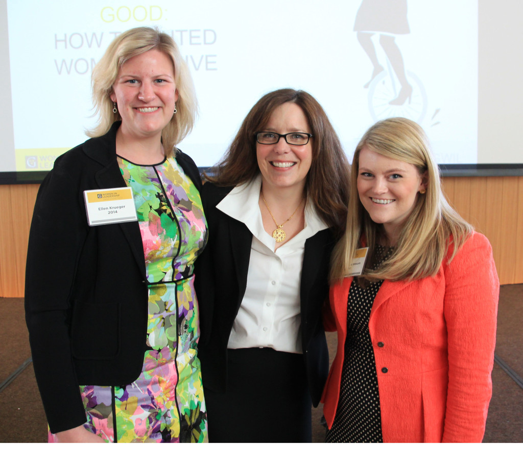 Ellen Krueger '14 (left) and Elizabeth Johnson '14 (right) co-chaired this year's conference. Here, they are pictured with conference speaker Anissa Mediger '94 (photo by Erin Luhmann '07).