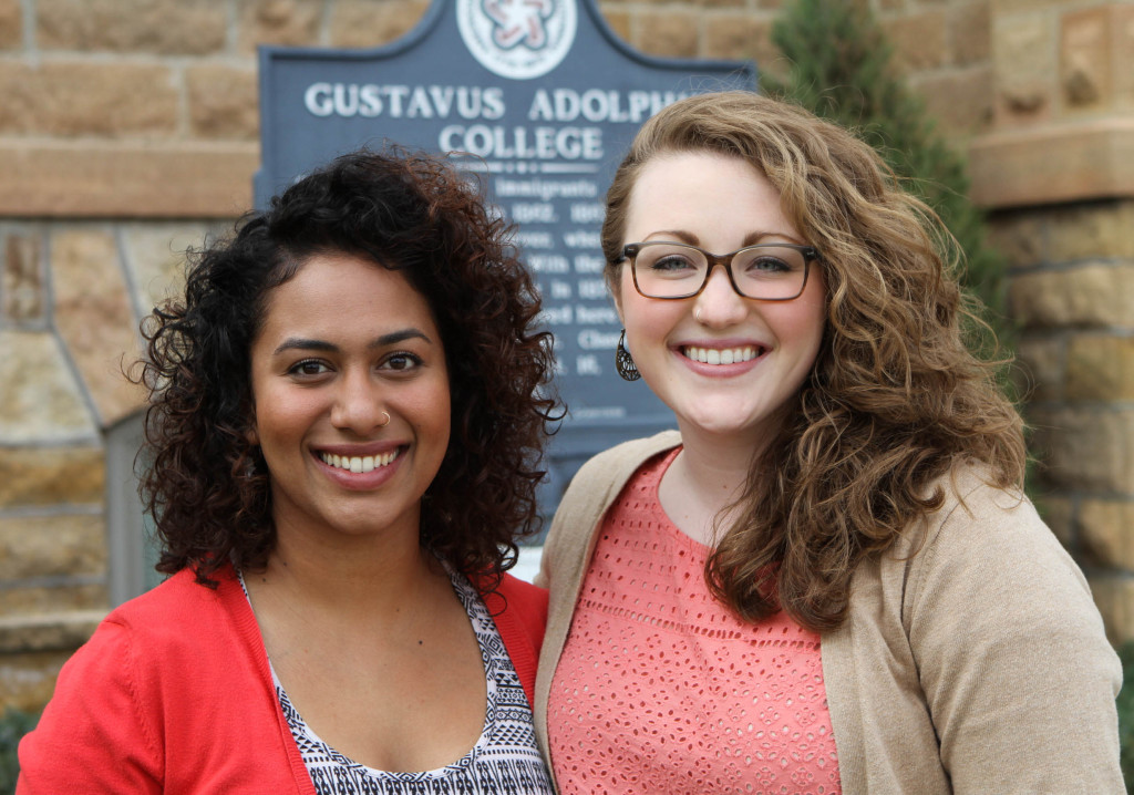 Valentina Muraleedharan '14 and Victoria Clark '14 (Photo by Matt Thomas '00)