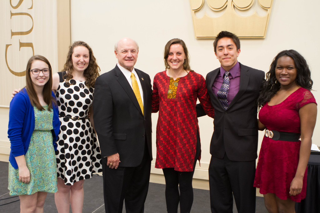From left to right: Brooke Meyer '14, Rebecca Eastwood '14, President Jack Ohle, Anna McDevitt '14, Torey Asao '14, and Comfort Dolo '14 (Photo by Tim Kennedy '82)