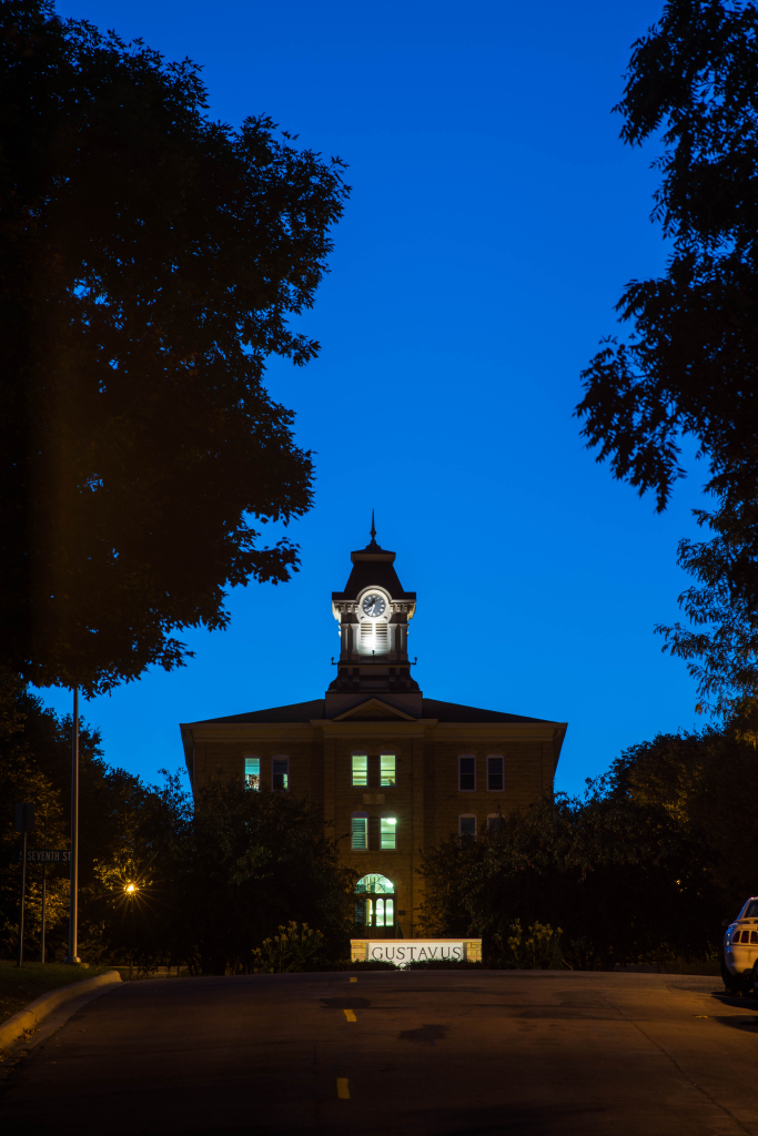 Old Main at Night Blue Sky