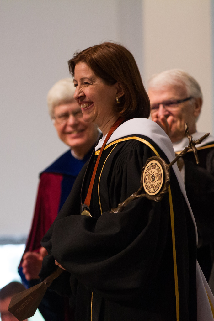 President Bergman after being officially introduced as the 17th President of Gustavus Adolphus College (Photo by Nate Long '16).