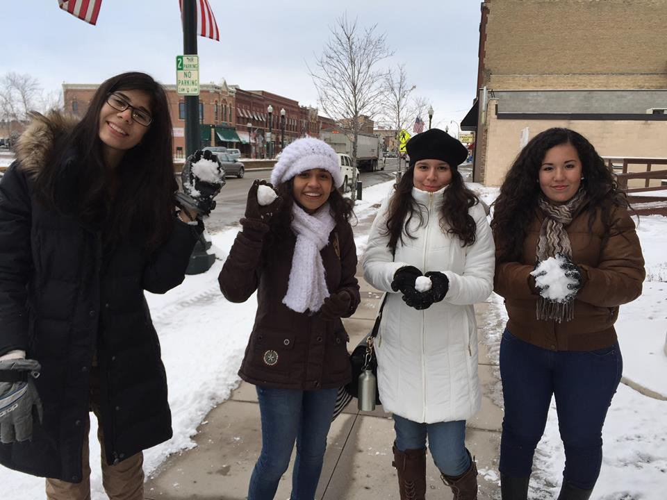 The students in the Petatlan delegation had some fun with the snow on the streets of St. Peter.