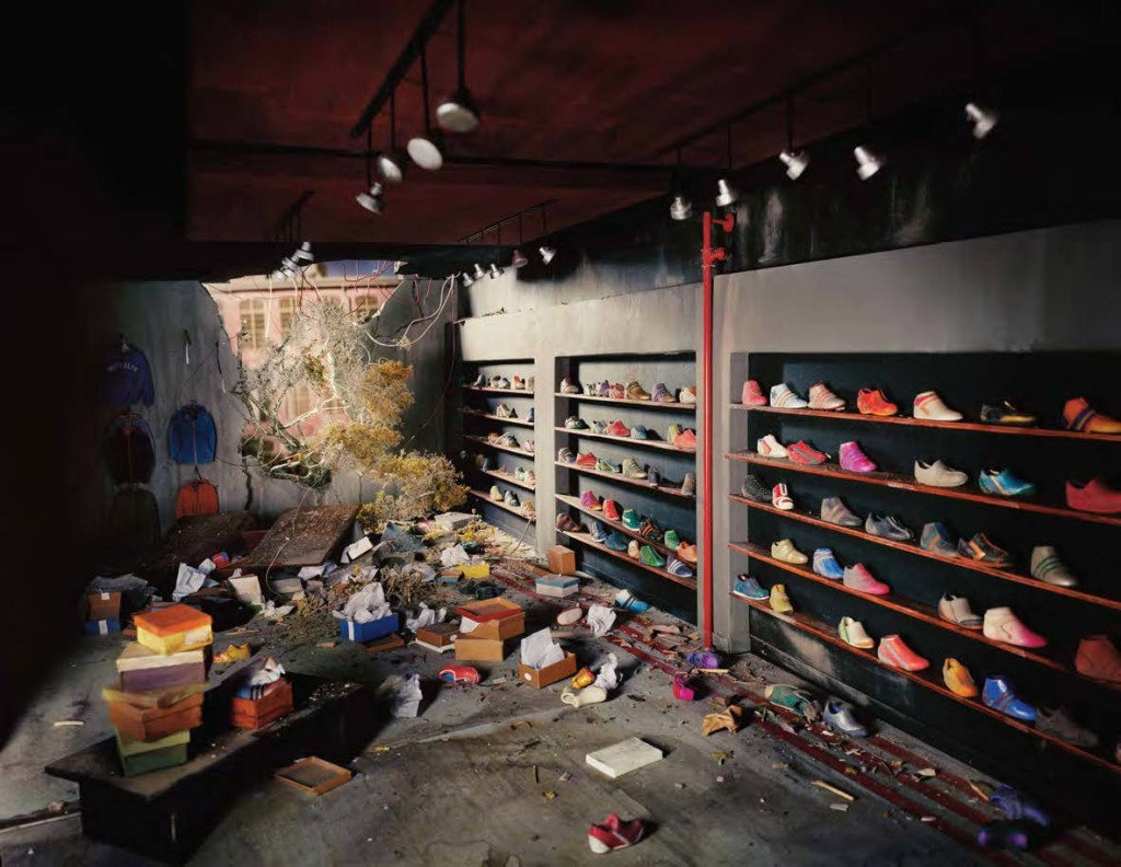 Lori Nix, Shoe Store, from the series The City, 2013, archival pigment print, 40 x 51 ½ inches