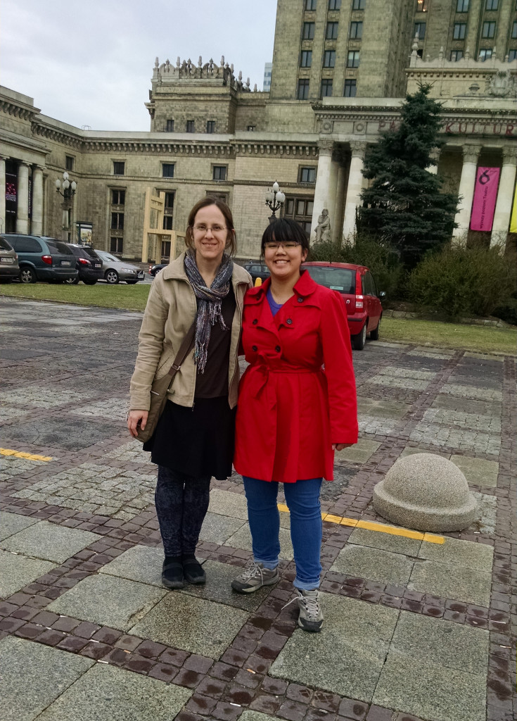 Gerstbauer and Gustavus student Becca Awe in front of the Palace of Culture and Science in Warsaw.