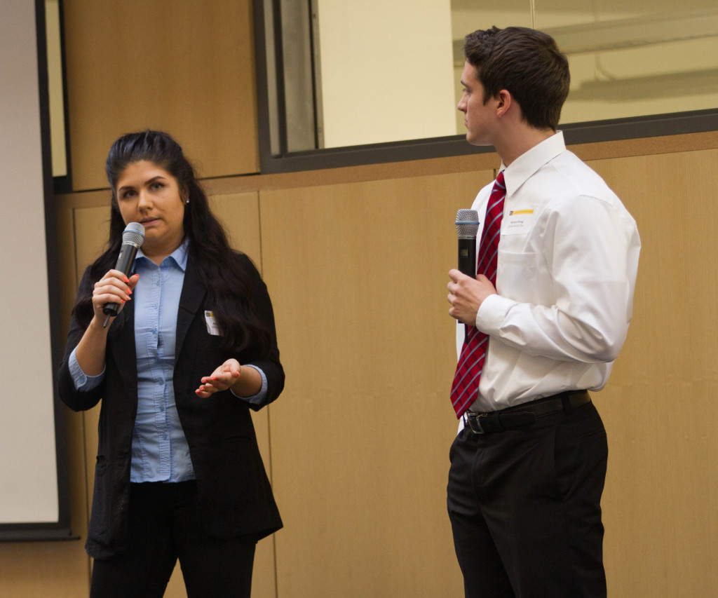 Seniors Amy Medearis and Michael Houg, who were awarded third place, make their presentation.