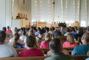 President Bergman extended a special welcome to the parents and students of the incoming class in Christ Chapel.