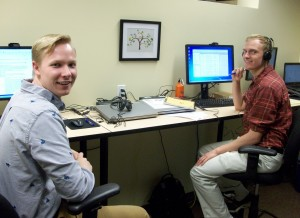 Jace Riggin (left) takes a quick break with fellow intern at The Improve Group.