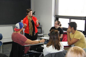 Dwyer instructs Gustavus students during the classroom portion of the course.