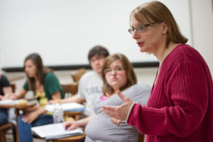 Alisa Rosenthal addresses a class of Gustavus students.