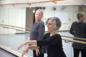 Rusinko and Shahak rehearse in Gustavus's Kresge Dance Studio.