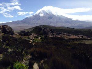 The view of Mount Chimborazo from Riobamba, Ecuador.
