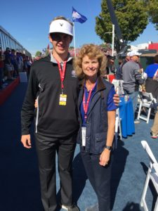 Kelley with Gustavus management professor Kathi Tunheim at the 2016 Ryder Cup.