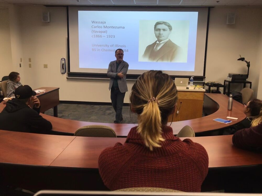 Craig Williams lectures at Gustavus on Thursday, October 3, 2019.