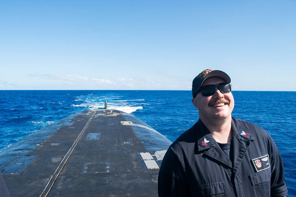 US Navy veteran and Gustavus junior Joe May onboard a submarine.